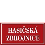 Cedule smaltovaná - nápis Hasičská zbrojnice bez znaku (obdélník 80×40 cm)