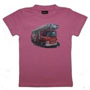 """Tričko dětské potisk hasičské autíčko """"ŽEBŘÍK""""- růžové"""