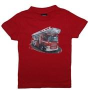 """Tričko dětské potisk hasičské autíčko """"ŽEBŘÍK"""" - červené"""