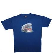 """Tričko dětské potisk hasičské autíčko """"ŽEBŘÍK""""- královská modrá"""