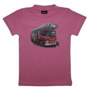 """Tričko dětské potisk hasičské autíčko """"ŽEBŘÍK"""" - na zádech """"MŮJ TÁTA JE  HASIČ"""" - růžové"""