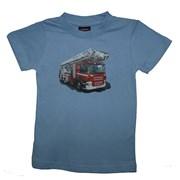 """Tričko dětské potisk hasičské autíčko """"ŽEBŘÍK"""" - na zádech """"MŮJ TÁTA JE  HASIČ"""" - světle modré"""