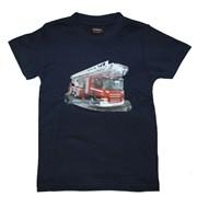 """Tričko dětské potisk hasičské autíčko """"ŽEBŘÍK"""" - na zádech """"MŮJ TÁTA JE  HASIČ"""" - tmavě modré"""