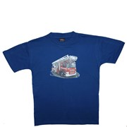 """Tričko dětské potisk hasičské autíčko """"ŽEBŘÍK"""" - na zádech """"MŮJ TÁTA JE  HASIČ"""" - královská modrá"""