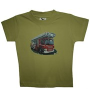 """Tričko dětské potisk hasičské autíčko """"ŽEBŘÍK"""" - na zádech """"MŮJ TÁTA JE  HASIČ"""" - světle zelené"""