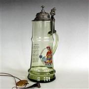 Korbel - tuplák skleněný s cínovým víčkem - FLORIÁN + HASIČSKÁ MOTLITBA