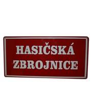Cedule smaltovaná - nápis Hasičská zbrojnice (obdélník 40×20 cm) bez znaku