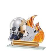 Poháry - trofej akrylátová - přilba s hadicí a ohněm /14,5cm/ - dárkové balení